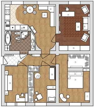 Планировка и перепланировка 1,2,3 комнатных квартир в